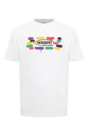Мужская хлопковая футболка palm angels x missoni PALM ANGELS белого цвета, арт. PMAA001F21JER0280110/W | Фото 1
