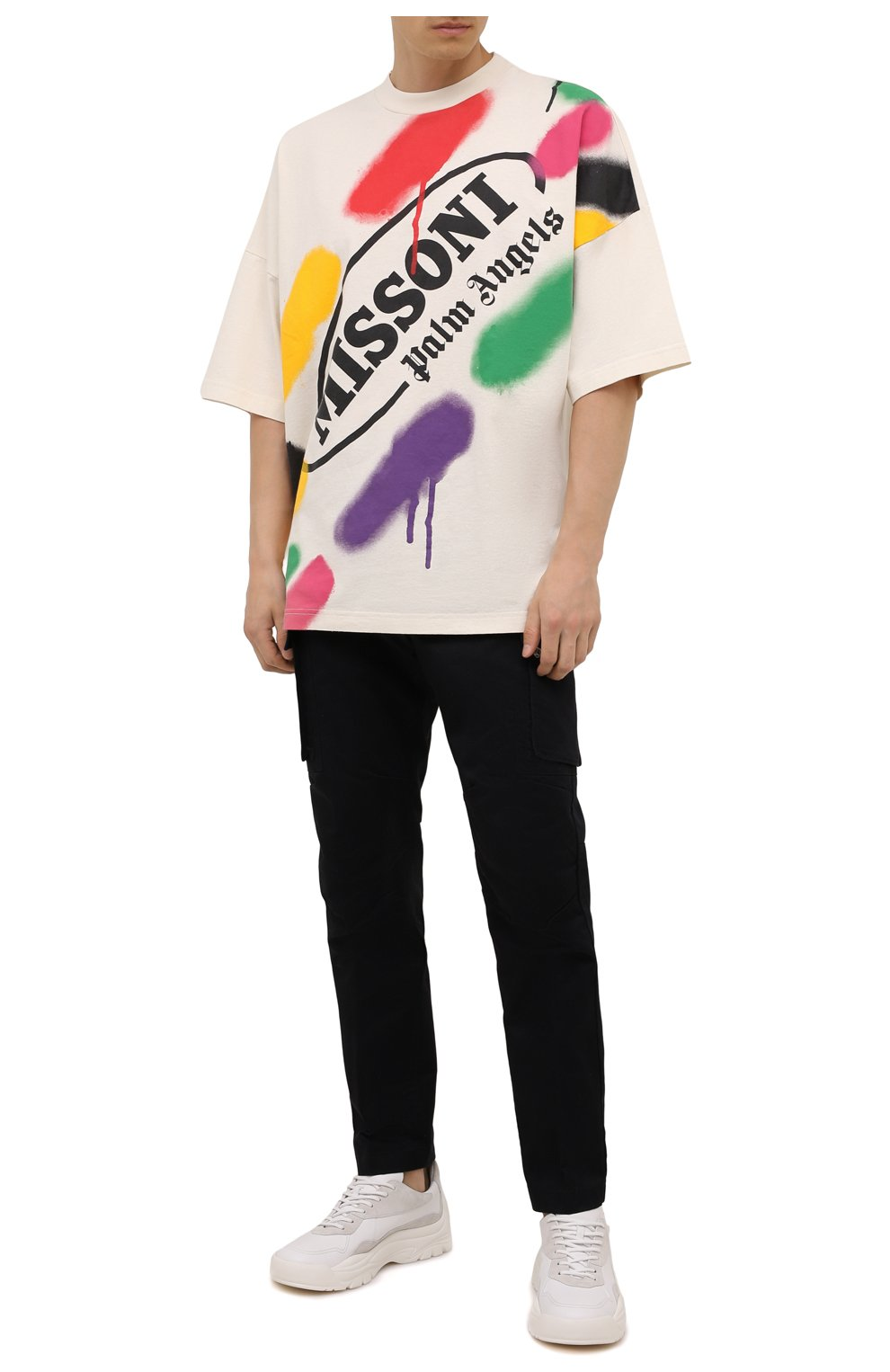 Мужская хлопковая футболка palm angels x missoni PALM ANGELS кремвого цвета, арт. PMAA041F21JER0060310 | Фото 2 (Рукава: Короткие; Длина (для топов): Стандартные; Стили: Гранж; Принт: С принтом; Материал внешний: Хлопок)