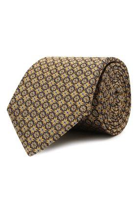 Мужской шелковый галстук CANALI желтого цвета, арт. 18/HJ03291   Фото 1 (Материал: Шелк, Текстиль; Принт: С принтом)