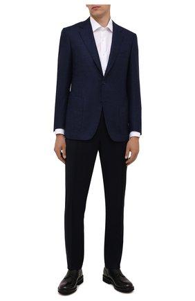 Мужские шерстяные брюки CANALI синего цвета, арт. 91666/PR00825   Фото 2 (Материал внешний: Шерсть; Материал подклада: Вискоза; Случай: Формальный; Стили: Классический; Длина (брюки, джинсы): Стандартные)