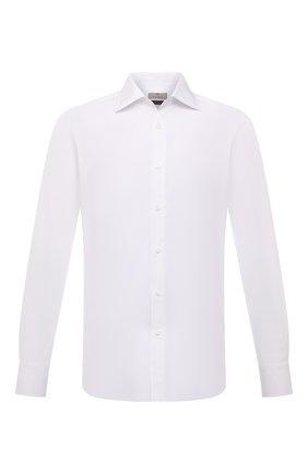 Мужская хлопковая сорочка CANALI белого цвета, арт. XX05/GX02022 | Фото 1 (Рукава: Длинные; Материал внешний: Хлопок; Длина (для топов): Стандартные; Случай: Формальный; Стили: Классический; Рубашки М: Regular Fit; Манжеты: На пуговицах; Воротник: Акула; Принт: Однотонные)