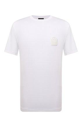 Мужская футболка из вискозы GIORGIO ARMANI белого цвета, арт. 6KSM74/SJKLZ | Фото 1 (Материал внешний: Вискоза; Принт: Без принта; Рукава: Короткие; Стили: Кэжуэл; Длина (для топов): Стандартные)