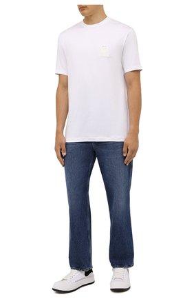 Мужская футболка из вискозы GIORGIO ARMANI белого цвета, арт. 6KSM74/SJKLZ | Фото 2 (Материал внешний: Вискоза; Принт: Без принта; Рукава: Короткие; Стили: Кэжуэл; Длина (для топов): Стандартные)