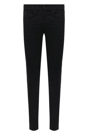 Мужские джинсы SAINT LAURENT черного цвета, арт. 527389/Y0500 | Фото 1 (Длина (брюки, джинсы): Стандартные; Материал внешний: Хлопок; Кросс-КТ: Деним; Силуэт М (брюки): Узкие; Стили: Кэжуэл)
