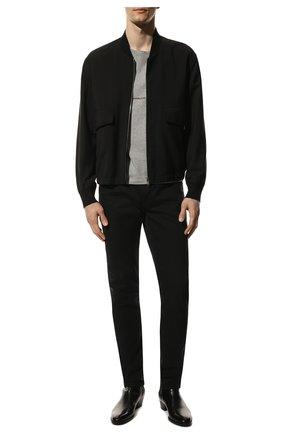Мужские джинсы SAINT LAURENT черного цвета, арт. 527389/Y0500 | Фото 2 (Длина (брюки, джинсы): Стандартные; Материал внешний: Хлопок; Кросс-КТ: Деним; Силуэт М (брюки): Узкие; Стили: Кэжуэл)