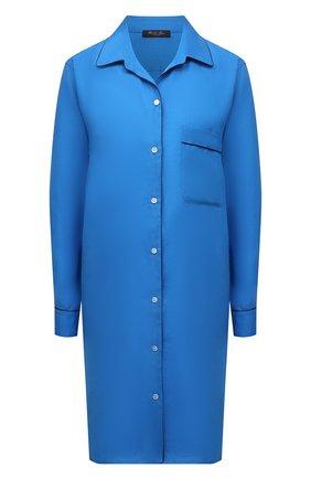 Женская льняная сорочка LORO PIANA василькового цвета, арт. FAL1537   Фото 1 (Материал внешний: Лен; Рукава: Длинные; Длина Ж (юбки, платья, шорты): До колена)