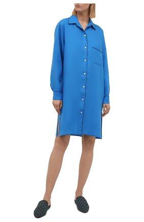 Женская льняная сорочка LORO PIANA василькового цвета, арт. FAL1537   Фото 2 (Материал внешний: Лен; Рукава: Длинные; Длина Ж (юбки, платья, шорты): До колена)