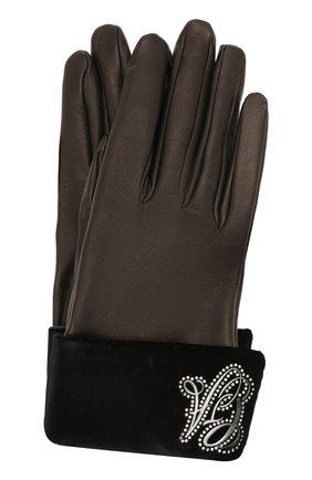 Женские кожаные перчатки GIORGIO ARMANI коричневого цвета, арт. 794238/1A215 | Фото 1