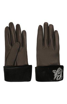 Женские кожаные перчатки GIORGIO ARMANI коричневого цвета, арт. 794238/1A215 | Фото 2