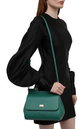 Женская сумка sicily medium DOLCE & GABBANA изумрудного цвета, арт. BB6002/A1001   Фото 2 (Материал: Натуральная кожа; Сумки-технические: Сумки top-handle, Сумки через плечо; Ремень/цепочка: На ремешке; Размер: medium)