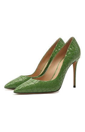 Женские кожаные туфли CASADEI зеленого цвета, арт. 1F121D1001LACR06806   Фото 1