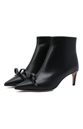 Женские кожаные ботильоны REDVALENTINO черного цвета, арт. WQ2S0E42/TPB | Фото 1 (Материал внутренний: Натуральная кожа; Каблук тип: Шпилька; Подошва: Плоская; Каблук высота: Средний)