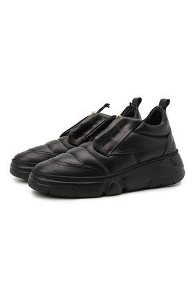Женские кожаные кроссовки venus AGL черного цвета, арт. D938012PGKA0761013 | Фото 1 (Материал внутренний: Натуральная кожа; Подошва: Платформа)