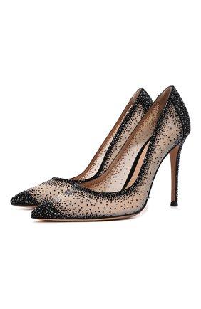 Женские комбинированные туфли rania GIANVITO ROSSI черного цвета, арт. G20130.15RIC.C0ZNENU | Фото 1 (Материал внешний: Текстиль; Материал внутренний: Натуральная кожа; Каблук высота: Высокий; Подошва: Плоская; Каблук тип: Шпилька)