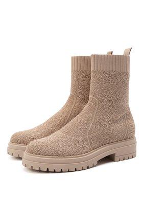 Женские текстильные ботинки GIANVITO ROSSI бежевого цвета, арт. G73349.20G0M.KIBNUDE | Фото 1
