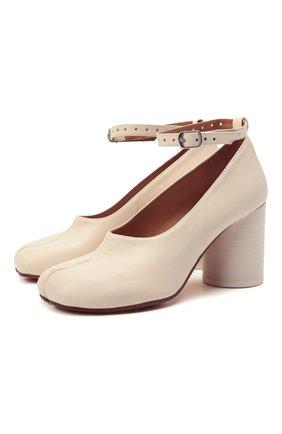 Женские кожаные туфли court MAISON MARGIELA кремвого цвета, арт. S34WL0021/P3753   Фото 1