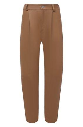 Женские кожаные брюки REDVALENTINO бежевого цвета, арт. WR3NF00M/639 | Фото 1 (Женское Кросс-КТ: Брюки-одежда, Кожаные брюки; Силуэт Ж (брюки и джинсы): Прямые; Стили: Кэжуэл; Длина (брюки, джинсы): Укороченные)