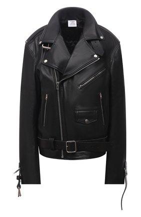 Женская кожаная куртка VETEMENTS черного цвета, арт. UA52JA910BL 2470/W | Фото 1