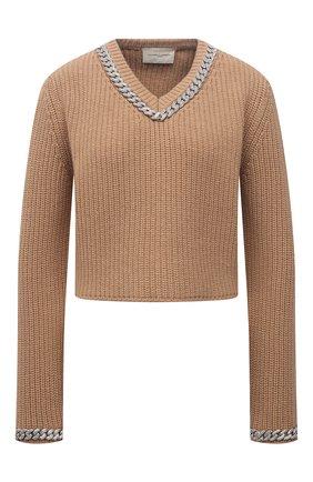 Женский пуловер из шерсти и шелка GIUSEPPE DI MORABITO бежевого цвета, арт. PF21091KN-146 | Фото 1