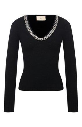Женский шерстяной пуловер GIUSEPPE DI MORABITO черного цвета, арт. PF21090KN-144 | Фото 1