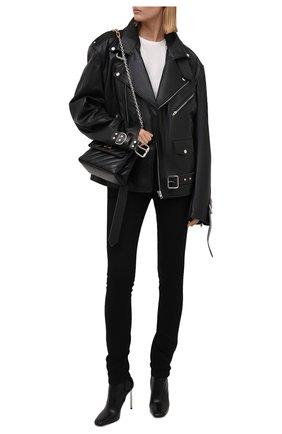 Женские джинсы SAINT LAURENT черного цвета, арт. 614478/YS500   Фото 2 (Длина (брюки, джинсы): Стандартные; Материал внешний: Хлопок; Кросс-КТ: Деним; Силуэт Ж (брюки и джинсы): Узкие; Стили: Кэжуэл)