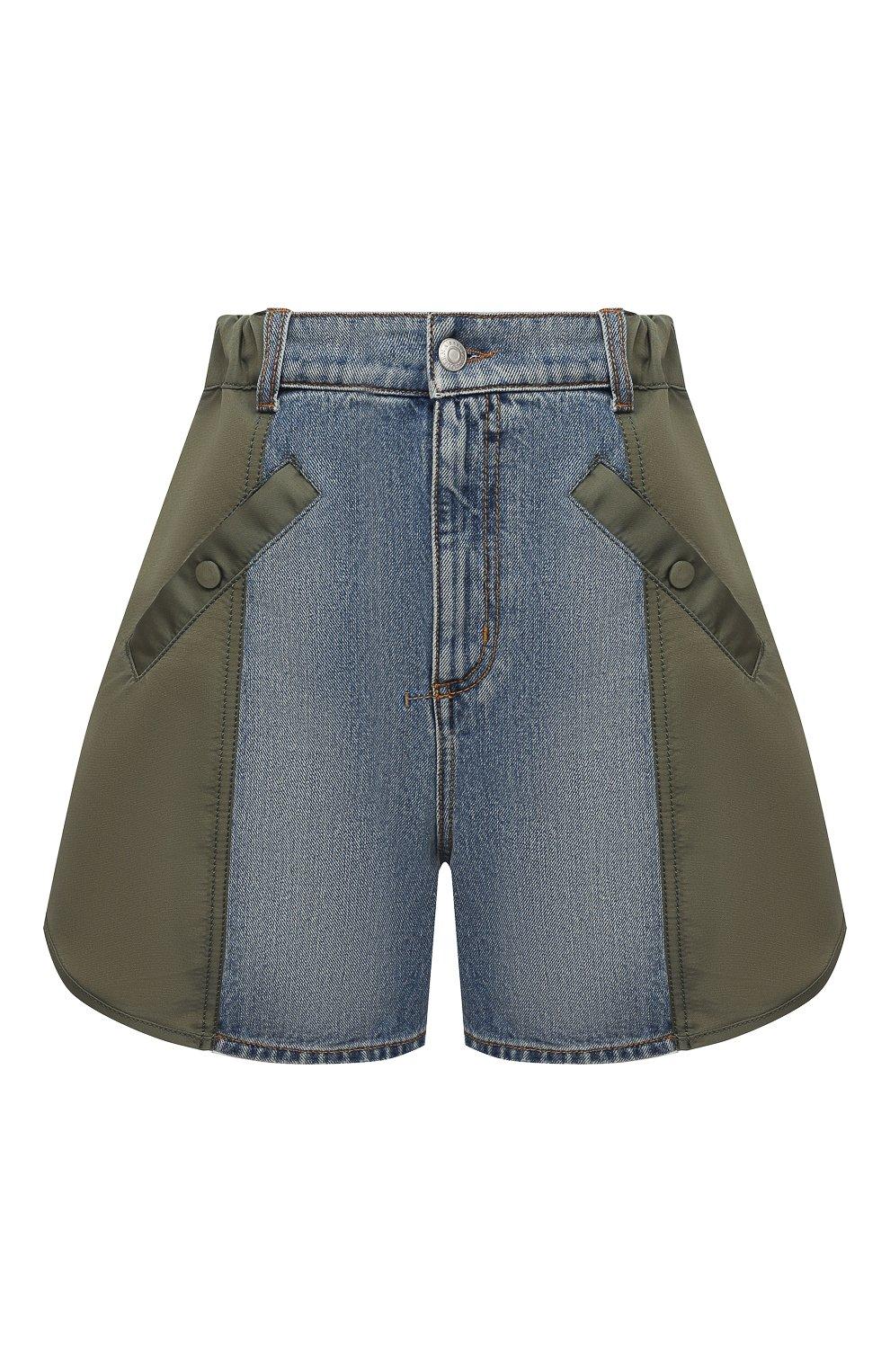 Женские комбинированные шорты ALEXANDER MCQUEEN хаки цвета, арт. 665629/QZADF | Фото 1 (Женское Кросс-КТ: Шорты-одежда; Кросс-КТ: Деним; Длина Ж (юбки, платья, шорты): Мини; Стили: Гранж; Материал внешний: Хлопок)