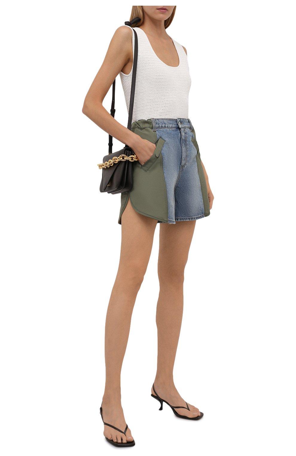 Женские комбинированные шорты ALEXANDER MCQUEEN хаки цвета, арт. 665629/QZADF | Фото 2 (Женское Кросс-КТ: Шорты-одежда; Кросс-КТ: Деним; Длина Ж (юбки, платья, шорты): Мини; Стили: Гранж; Материал внешний: Хлопок)