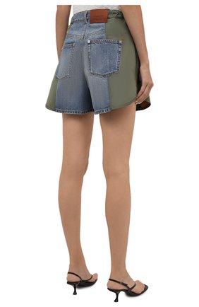 Женские комбинированные шорты ALEXANDER MCQUEEN хаки цвета, арт. 665629/QZADF | Фото 4 (Женское Кросс-КТ: Шорты-одежда; Кросс-КТ: Деним; Длина Ж (юбки, платья, шорты): Мини; Стили: Гранж; Материал внешний: Хлопок)