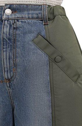 Женские комбинированные шорты ALEXANDER MCQUEEN хаки цвета, арт. 665629/QZADF | Фото 5 (Женское Кросс-КТ: Шорты-одежда; Кросс-КТ: Деним; Длина Ж (юбки, платья, шорты): Мини; Стили: Гранж; Материал внешний: Хлопок)
