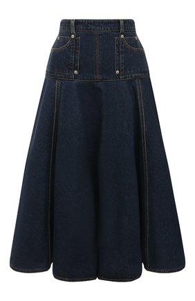 Женская джинсовая юбка ALEXANDER MCQUEEN темно-синего цвета, арт. 663491/QMABD | Фото 1