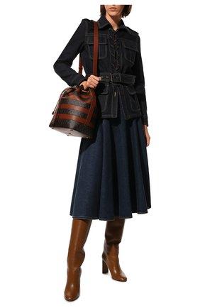Женская джинсовая юбка ALEXANDER MCQUEEN темно-синего цвета, арт. 663491/QMABD | Фото 2