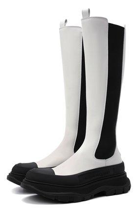 Женские кожаные сапоги ALEXANDER MCQUEEN черно-белого цвета, арт. 666410/WHZ66 | Фото 1 (Материал внутренний: Натуральная кожа; Подошва: Платформа; Каблук высота: Низкий; Высота голенища: Средние; Каблук тип: Устойчивый)
