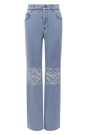 Женские джинсы LOEWE голубого цвета, арт. S359331XDV | Фото 1 (Материал внешний: Хлопок; Длина (брюки, джинсы): Стандартные; Кросс-КТ: Деним; Силуэт Ж (брюки и джинсы): Прямые; Стили: Кэжуэл)