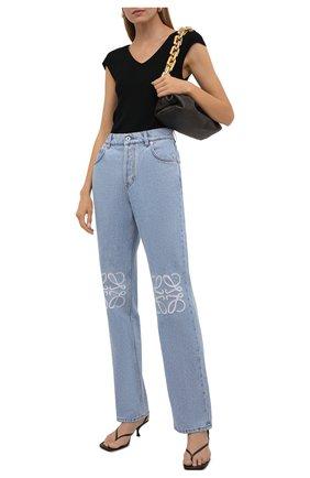 Женские джинсы LOEWE голубого цвета, арт. S359331XDV | Фото 2 (Материал внешний: Хлопок; Длина (брюки, джинсы): Стандартные; Кросс-КТ: Деним; Силуэт Ж (брюки и джинсы): Прямые; Стили: Кэжуэл)