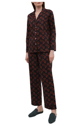 Женская хлопковая пижама YOLKE темно-бордового цвета, арт. AW21-02C-MI-BL   Фото 1
