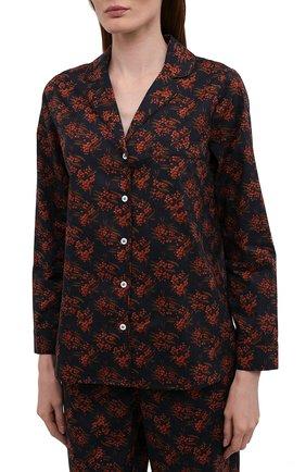 Женская хлопковая пижама YOLKE темно-бордового цвета, арт. AW21-02C-MI-BL   Фото 2
