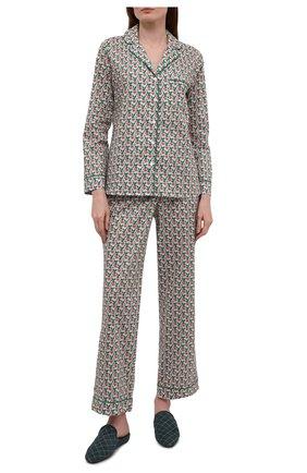 Женская хлопковая пижама YOLKE разноцветного цвета, арт. AW21-02C-SP-GR   Фото 1