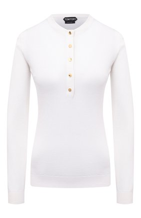 Женский пуловер из смеси кашемира и шелка TOM FORD белого цвета, арт. MAK936-YAX087 | Фото 1 (Материал внешний: Кашемир, Шерсть, Шелк; Женское Кросс-КТ: Пуловер-одежда; Стили: Кэжуэл; Рукава: Длинные; Длина (для топов): Стандартные)