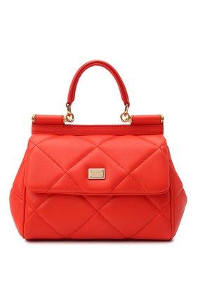 Женская сумка sicily small DOLCE & GABBANA красного цвета, арт. BB6003/AW591   Фото 1 (Материал: Натуральная кожа; Сумки-технические: Сумки top-handle, Сумки через плечо; Размер: small; Ремень/цепочка: На ремешке; Женское Кросс-КТ: Вечерняя сумка)
