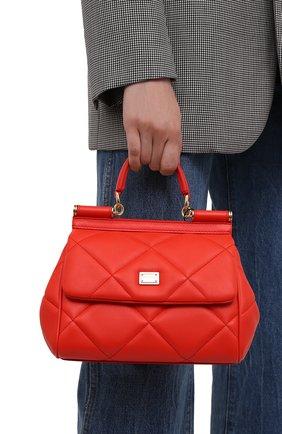 Женская сумка sicily small DOLCE & GABBANA красного цвета, арт. BB6003/AW591   Фото 2 (Материал: Натуральная кожа; Сумки-технические: Сумки top-handle, Сумки через плечо; Размер: small; Ремень/цепочка: На ремешке; Женское Кросс-КТ: Вечерняя сумка)