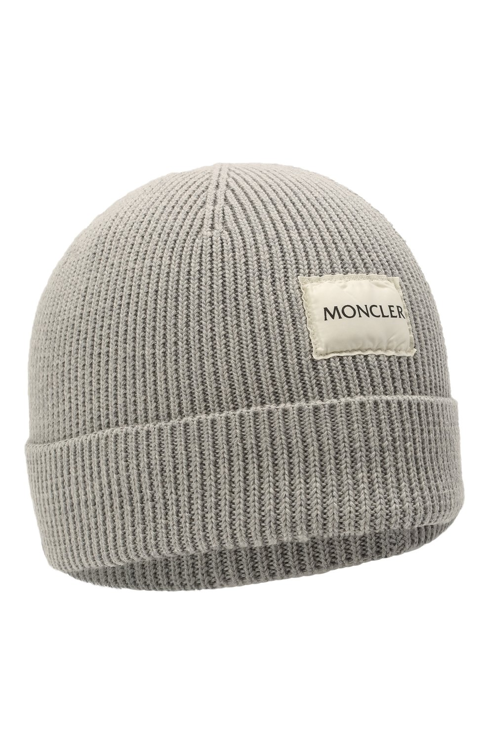 Детского хлопковая шапка MONCLER серого цвета, арт. G2-951-9Z709-00-V9217   Фото 1 (Материал: Текстиль, Хлопок)