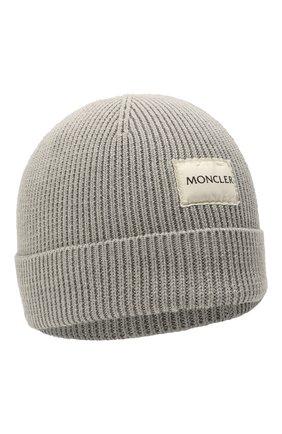 Детского хлопковая шапка MONCLER серого цвета, арт. G2-951-9Z709-00-V9217 | Фото 1