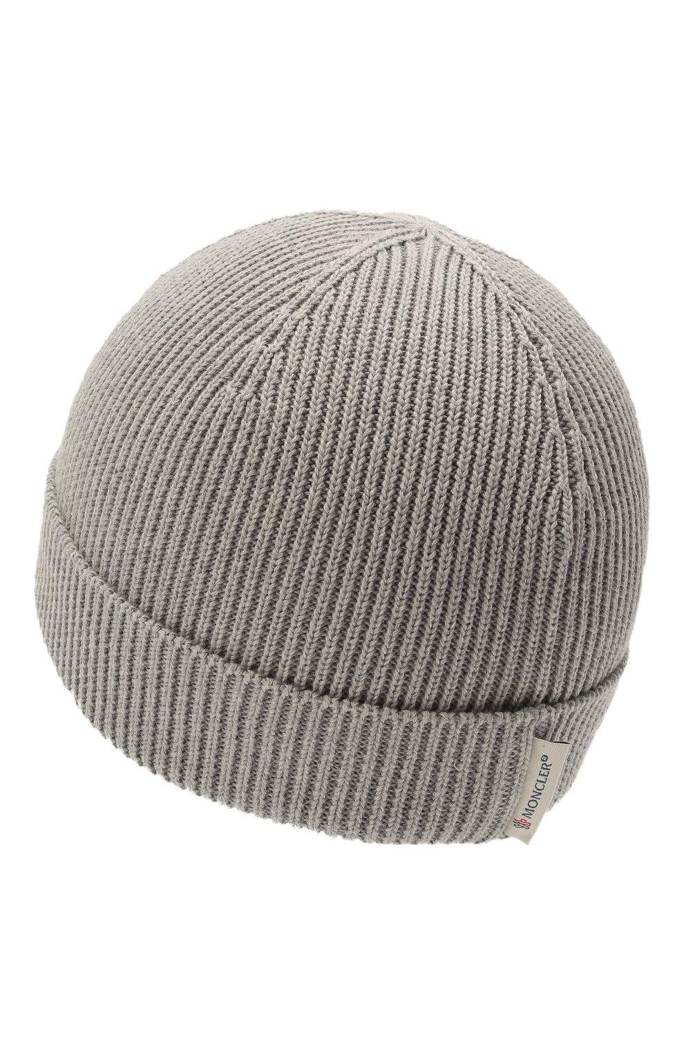 Детского хлопковая шапка MONCLER серого цвета, арт. G2-951-9Z709-00-V9217   Фото 2 (Материал: Текстиль, Хлопок)