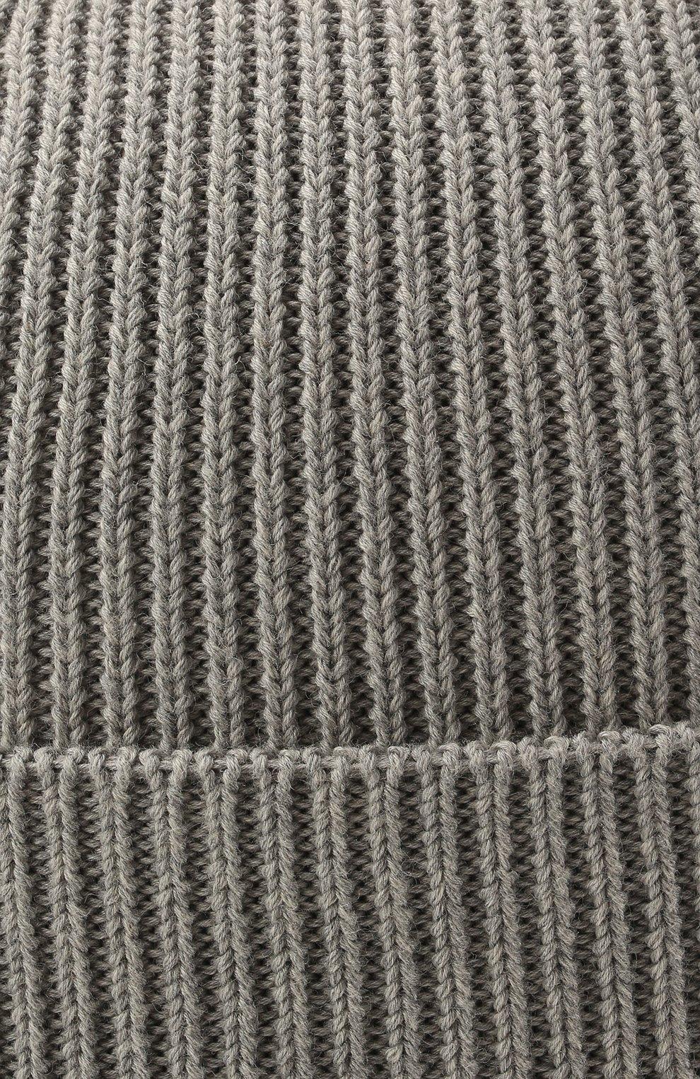 Детского хлопковая шапка MONCLER серого цвета, арт. G2-951-9Z709-00-V9217   Фото 3 (Материал: Текстиль, Хлопок)