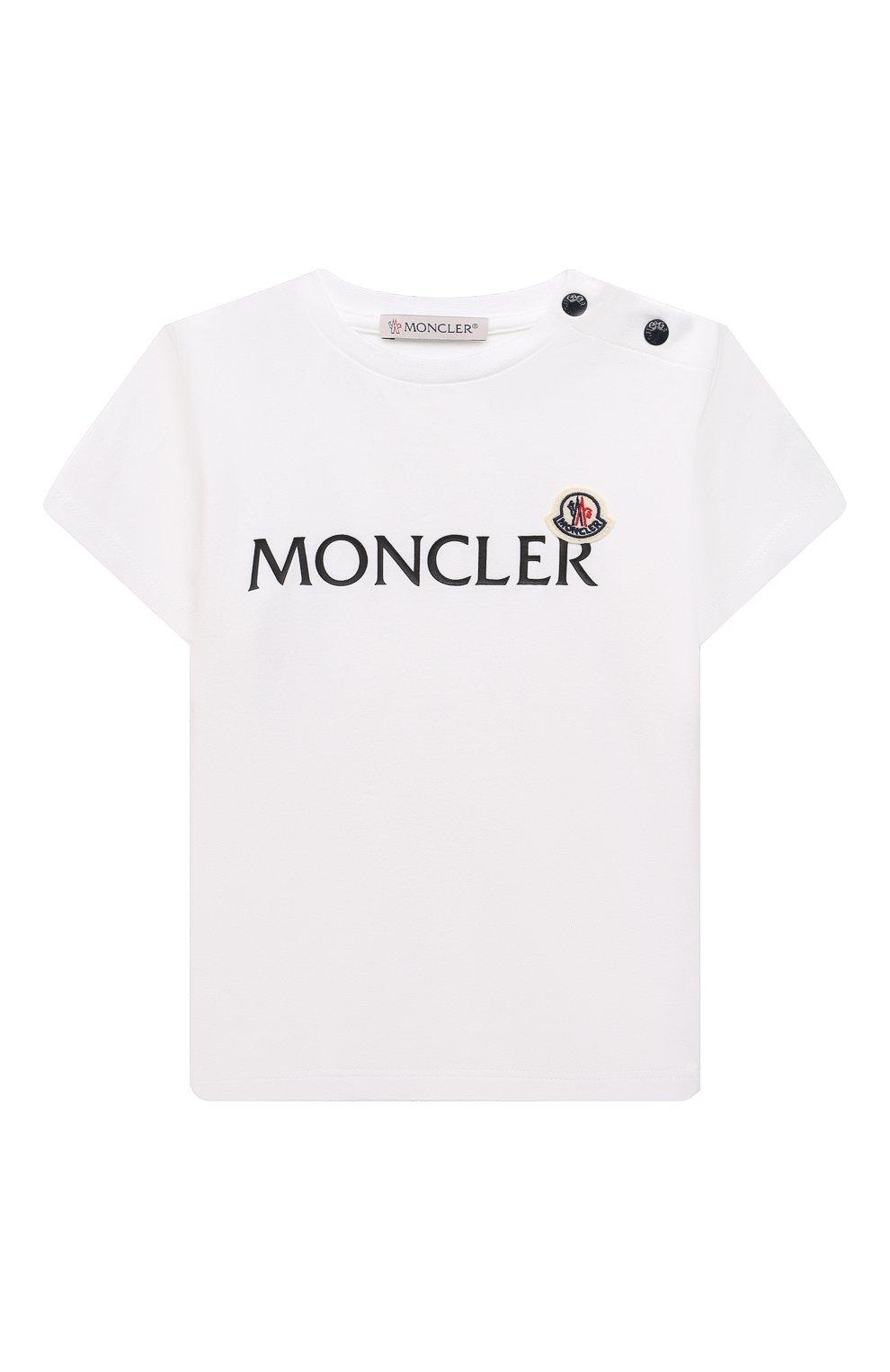 Детский хлопковая футболка MONCLER белого цвета, арт. G2-951-8C738-20-8790M   Фото 1 (Рукава: Короткие; Материал внешний: Хлопок; Ростовка одежда: 12 мес   80 см, 18 мес   86 см, 24 мес   92 см, 36 мес   98 см)