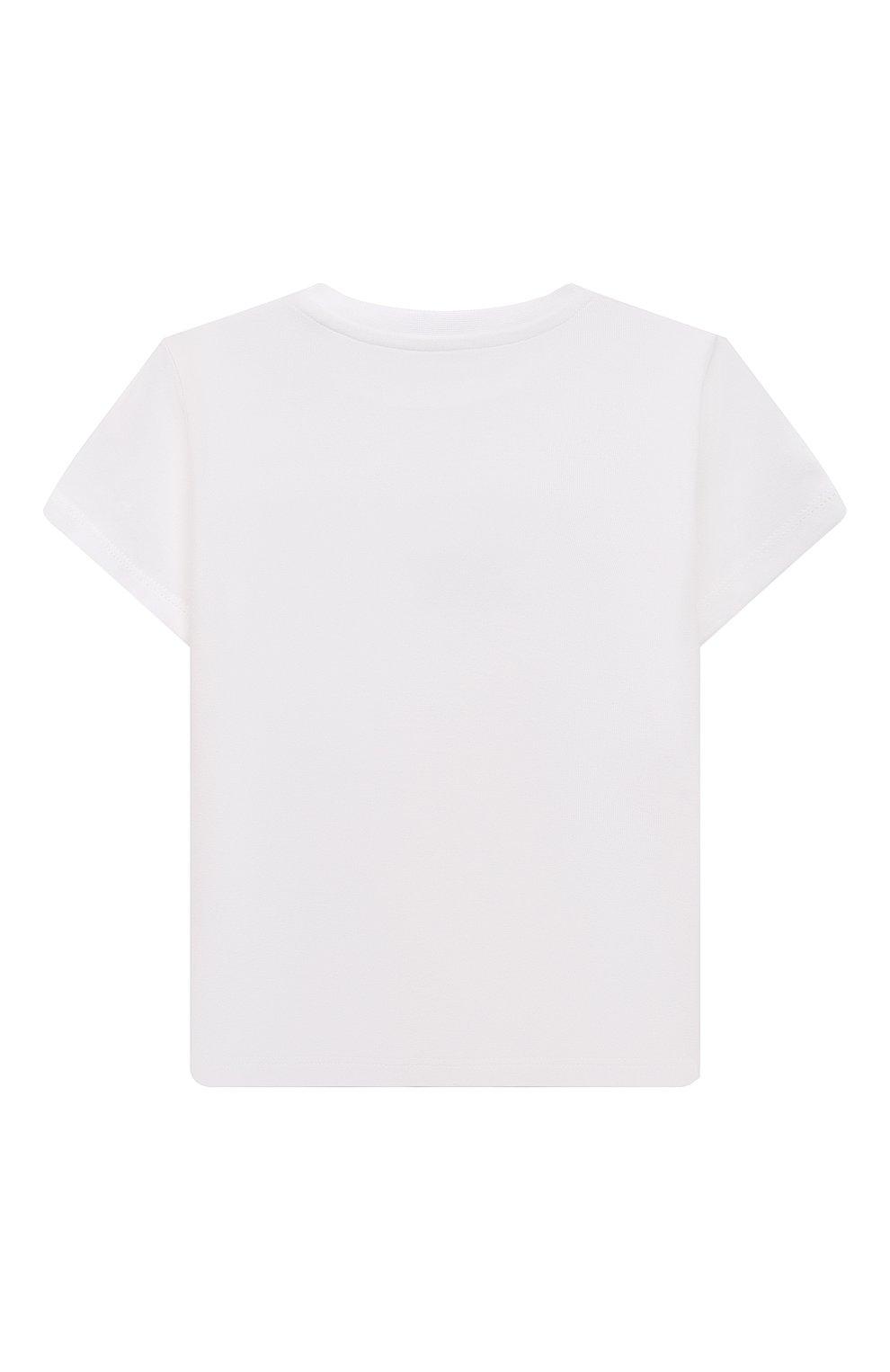 Детский хлопковая футболка MONCLER белого цвета, арт. G2-951-8C738-20-8790M   Фото 2 (Рукава: Короткие; Материал внешний: Хлопок; Ростовка одежда: 12 мес   80 см, 18 мес   86 см, 24 мес   92 см, 36 мес   98 см)