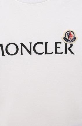 Детский хлопковая футболка MONCLER белого цвета, арт. G2-951-8C738-20-8790M   Фото 3 (Рукава: Короткие; Материал внешний: Хлопок; Ростовка одежда: 12 мес   80 см, 18 мес   86 см, 24 мес   92 см, 36 мес   98 см)
