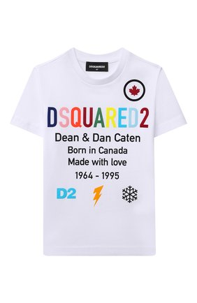Детская хлопковая футболка DSQUARED2 белого цвета, арт. DQ0516-D00MQ | Фото 1