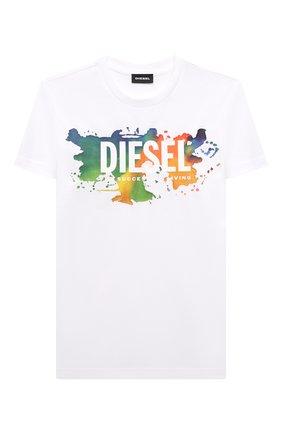 Детская хлопковая футболка DIESEL белого цвета, арт. J00294-00YI9 | Фото 1