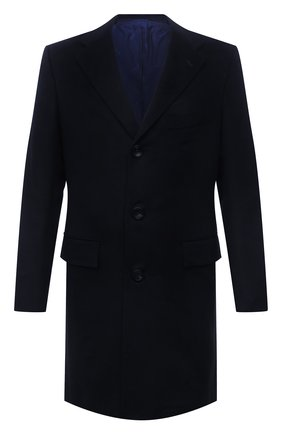 Мужской пальто из шерсти ламы KITON темно-синего цвета, арт. US106K02403/LGUA | Фото 1 (Материал внешний: Шерсть; Материал подклада: Купро; Мужское Кросс-КТ: пальто-верхняя одежда; Длина (верхняя одежда): До середины бедра; Стили: Классический; Рукава: Длинные)